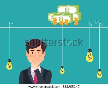Dilemma of businessman. Thinking man with idea bulbs.Eps 8 - stock vector