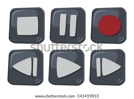 dimensional cartoon button multimedia - stock vector