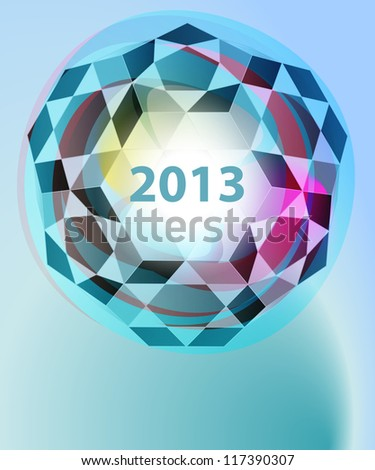 dimensional cubic diamond blue new year card vector template - stock vector