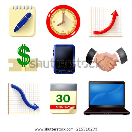 Dimensional icons set. Collection includes notebook, clock, handshake, mobile phone, graph with up and down arrow, dollar symbol, calendar, laptop images. Vector - stock vector