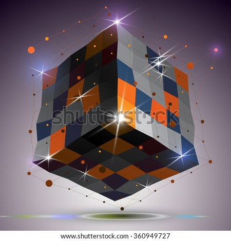 Dimensional twisted shiny cube with lights effect. 3d colorful design element with connected lines, can be used in engineering and technology projects. - stock vector