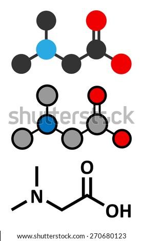 Dimethylglycine (DMG) molecule. Methylated derivative of glycine, used in performance enhancing nutritional supplements. Stylized 2D renderings and conventional skeletal formula. - stock vector