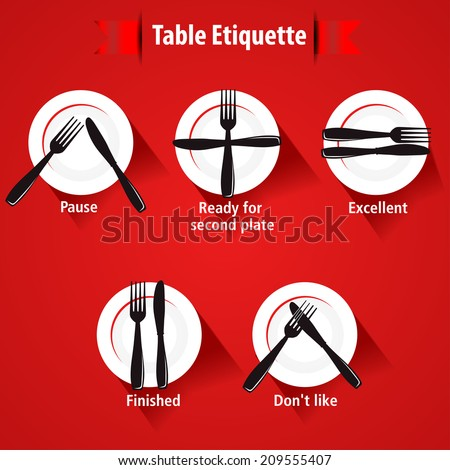 dining etiquette and table manner, forks and knifes signals- eps 10 vector - stock vector
