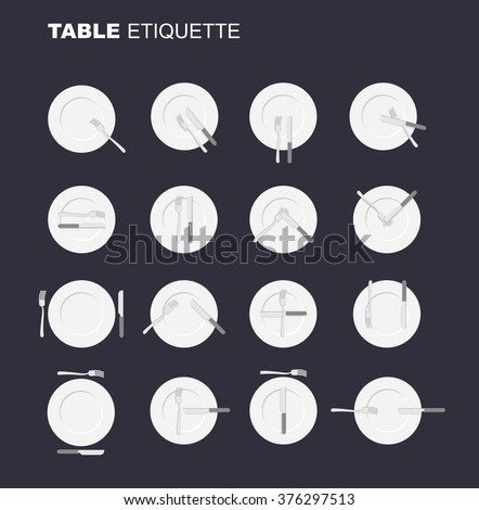 dining etiquette unofficial version. 16 characters to restaurant etiquette. Rules in public eating establishment. Cutlery etiquette. Good manners in society. An empty plate top view. Knife and fork.  - stock vector