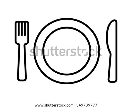Dining line art icon with plate, fork and knife for apps and websites - stock vector