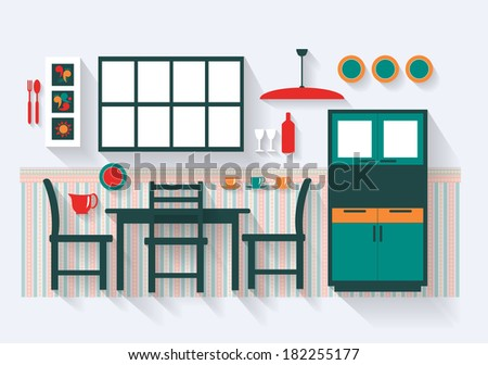 Dining Room with Furniture and Fittings Long Shadows  - stock vector