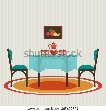 Dining table  with  and chairs . Vector flat style interior . - stock vector