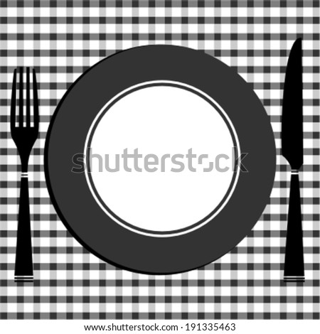 Dining table with cover of knife, fork and plate  - stock vector