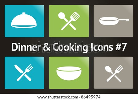 Dinner & Cooking Vector Icon Set #7 - stock vector