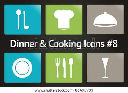 Dinner & Cooking Vector Icon Set #8 - stock vector