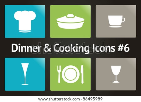 Dinner & Cooking Vector Icon Set #6 - stock vector