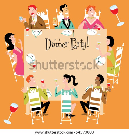 Dinner Party Invitation with a variety of men, women, teenager, grandma, gay or straight couples. - stock vector