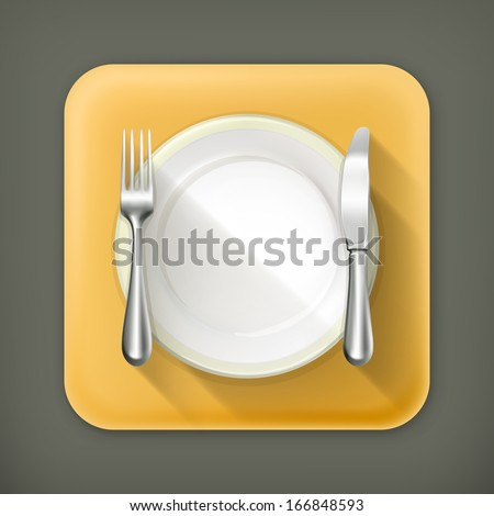 Dinner place setting, vector flat icon - stock vector