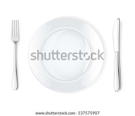 Dinner place setting, vector illustration - stock vector