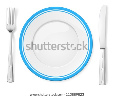 Dinner plate, knife and fork. Illustration on white background - stock vector