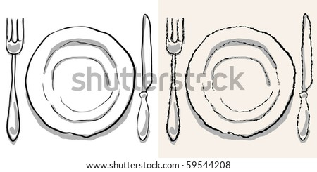 dinner plate, knife and fork. rough and smooth - stock vector