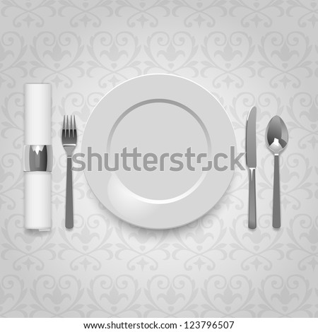 Dinner plate with cutlery and napkin, eps10 vector - stock vector
