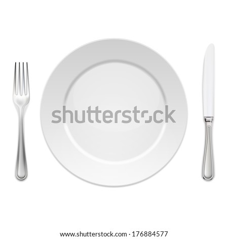 Dinner plate with cutlery: knife and fork, isolated on white - stock vector