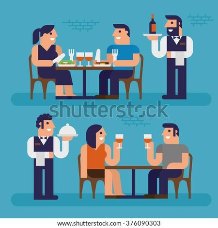 Dinner, Restaurant, Pixel Perfect Design - stock vector