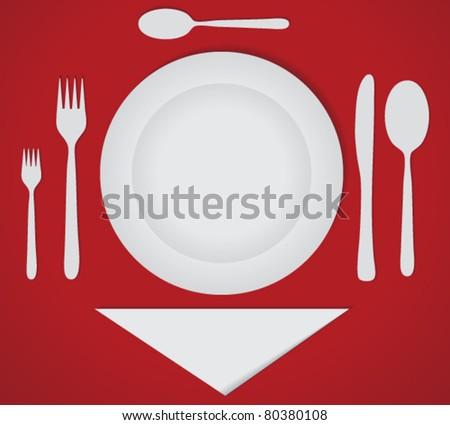 Dinner Set on Luxury Cover - stock vector