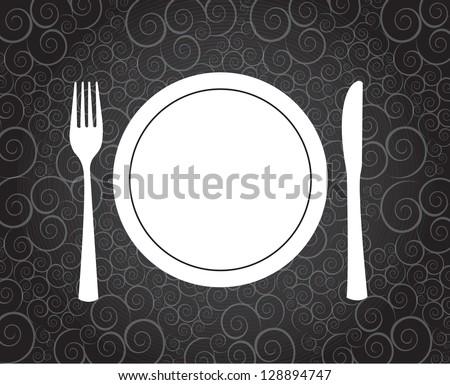Dinner symbol over vintage background vector illustration - stock vector