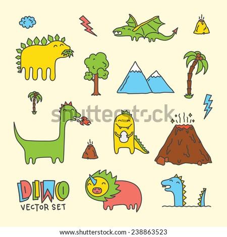 Dino cartoon vector set  - stock vector