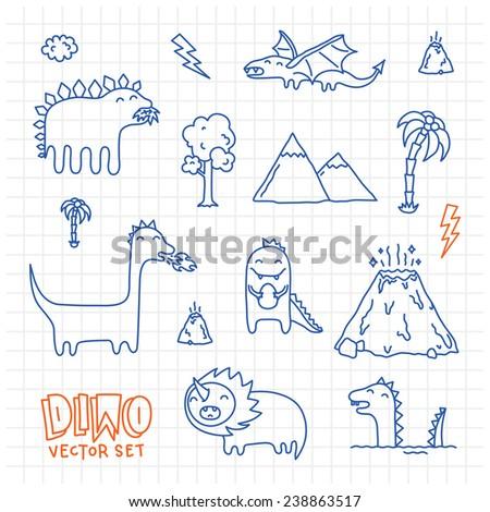 Dino ink doodles cartoon vector set  - stock vector