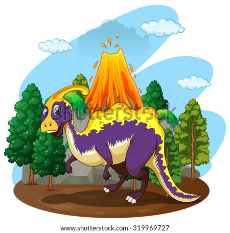 Dinosaur and volcano eruption illustration - stock vector