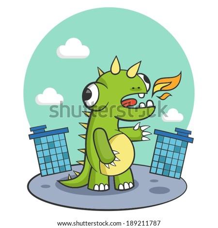 dinosaur city monster dragon beast - stock vector