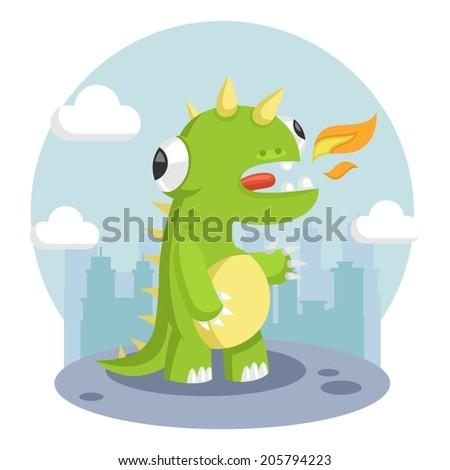 dinosaur city monster dragon beast flat - stock vector