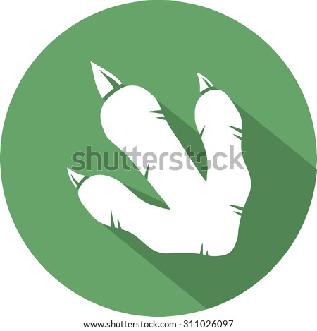 Dinosaur Footprint Circle Flat Design Icon. Vector Illustration Isolated On White Background  - stock vector