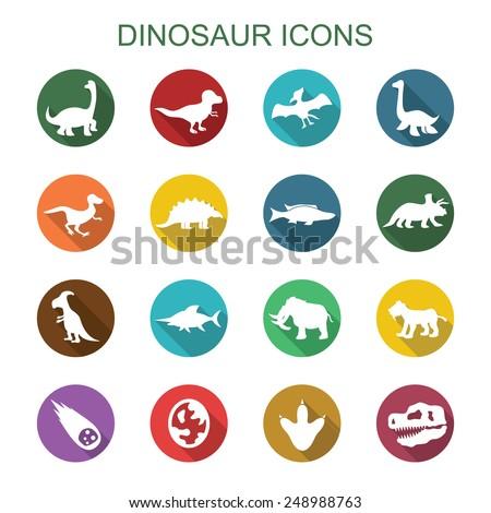 dinosaur long shadow icons, flat vector symbols - stock vector