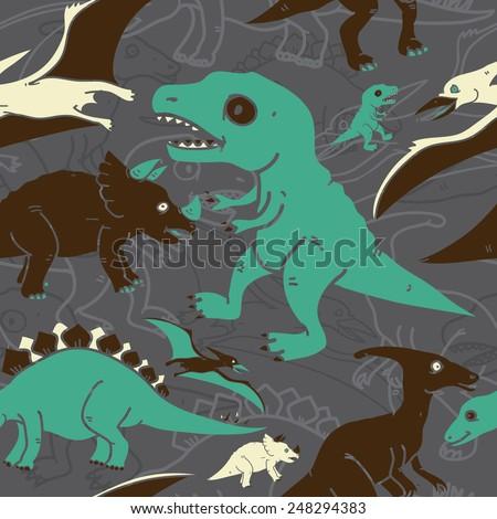 Dinosaur Pattern - stock vector