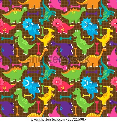 Dinosaur Seamless Tileable Vector Background Pattern  - stock vector