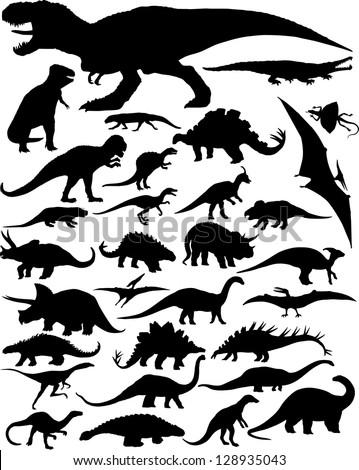 dinosaur silhouettes - stock vector