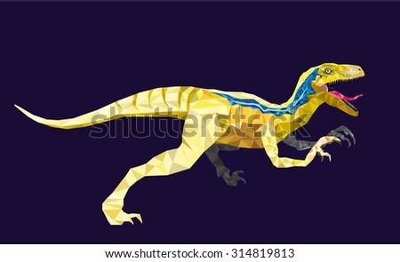 Dinosaur Velociraptor in geometric pattern style. vector eps 10 - stock vector