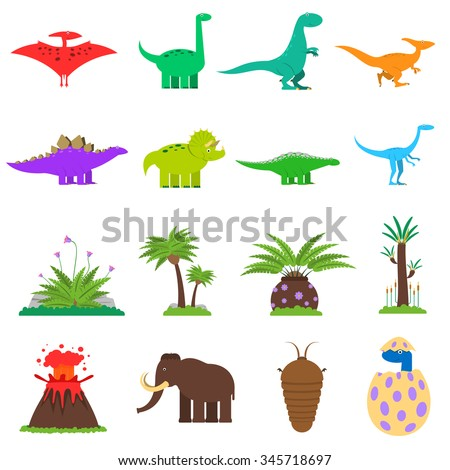 Dinosaurs and prehistoric plants flat icons set isolated vector illustration - stock vector