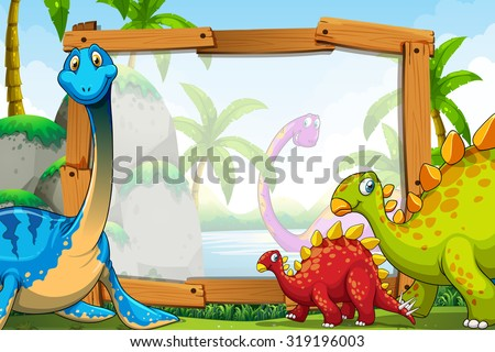 Dinosaurs around the wooden frame illustration - stock vector
