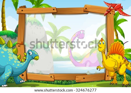 Dinosaurs by the wooden frame illustration - stock vector
