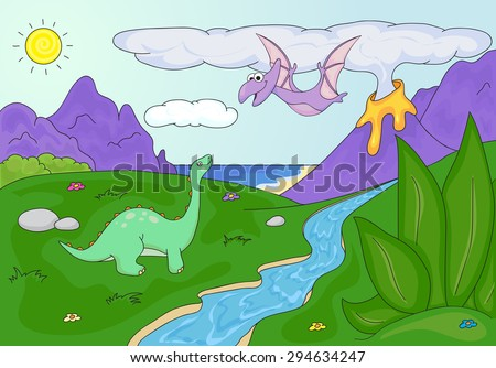 Dinosaurs diplodocus and pterodactyl on a background of  prehistoric nature: mountains, sea and ferns. Volcano spews lava. Vector educational illustration for children - stock vector