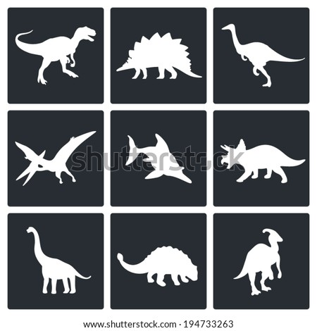 Dinosaurs icons set - stock vector