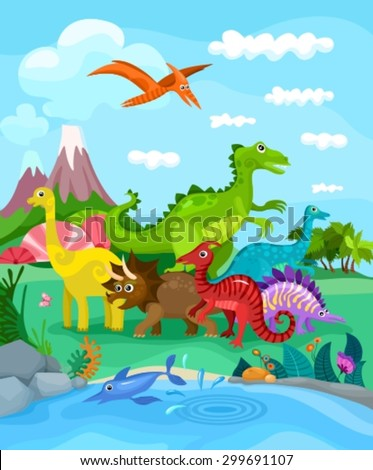 dinosaurs illustration - stock vector