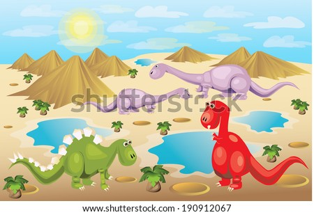 Dinosaurs in colorful background/ Dino Days/Colorful Dinosaur scene. Dinosaurs are on separate layers and can be used separately  - stock vector