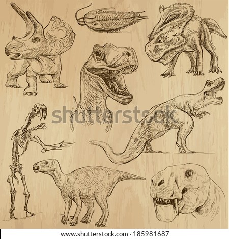 DINOSAURS -Life in prehistoric times (set no. 3) - Collection of an hand drawn illustrations. Description: Each drawing comprise of two layer of outlines, colored background is isolated. - stock vector