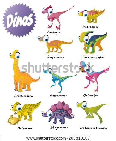 dinosaurs set: brachiosaurus, fabrosaurus, heterodontosaurus, maiasaura, nodosaurus, oviraptor, parasaurolophus, riojasaurus, stegosaurus and unenlagia - stock vector
