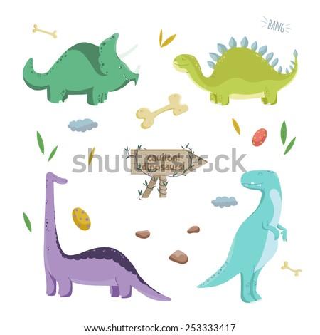 Dinosaurs set. Vector illustration. - stock vector