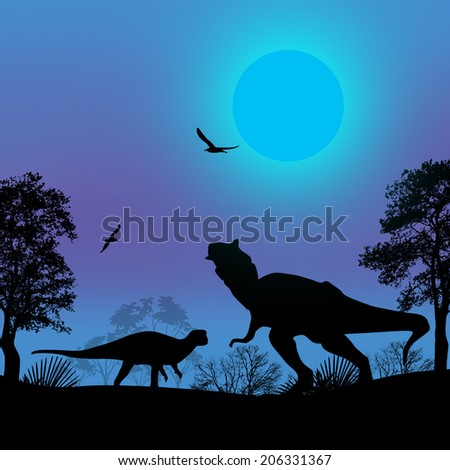 Dinosaurs silhouettes in beautiful blue landscape at night, vector illustration - stock vector