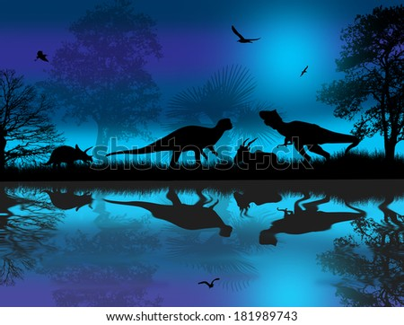 Dinosaurs silhouettes in beautiful landscape at blue night near water, vector illustration - stock vector
