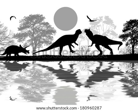 Dinosaurs silhouettes in beautiful landscape near water , vector illustration - stock vector