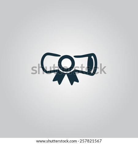 Diploma. Flat web icon, sign or button isolated on grey background. Collection modern trend concept design style vector illustration symbol - stock vector